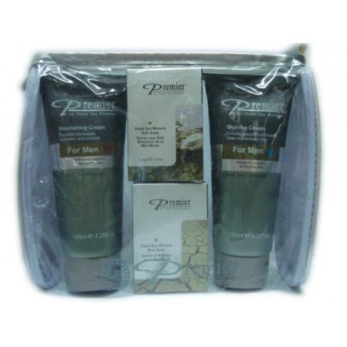Dead Sea Premier Kit for Men-Nourishing,Shaving Cream,2 x Soap